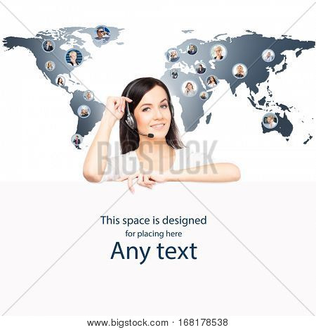 Call center operator working in a hot line office. Customer support and a global business concept. World map with a businesspeople talking to phone.