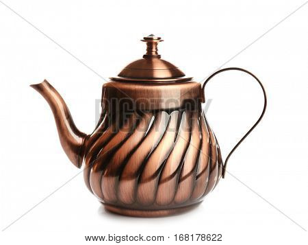 Turkish tea pot on white background