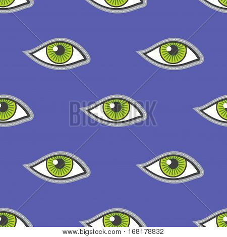 Green eyes patch vector seamless pattern. Illustration of design background with eyes