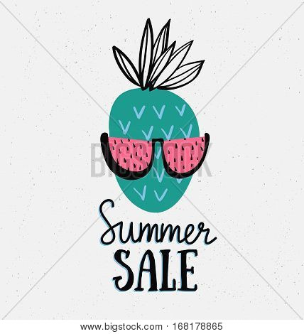 Vector summer background with hand drawn pineapple, watermelon sunglass, and hand written text