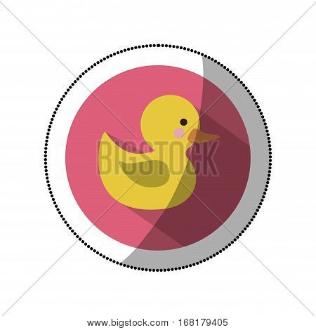 sticker color silhouette with yellow duck bath in round frame vector illustration