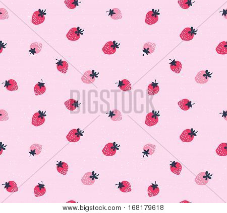 Vector strawberry background. Seamless pattern of hand drawn strawberries. Natural seamless pattern of garden fruits.