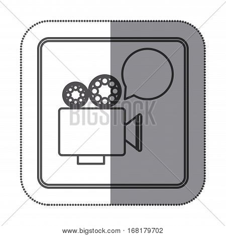 sticker silhouette square shape with retro movie projector with dialog box vector illustration