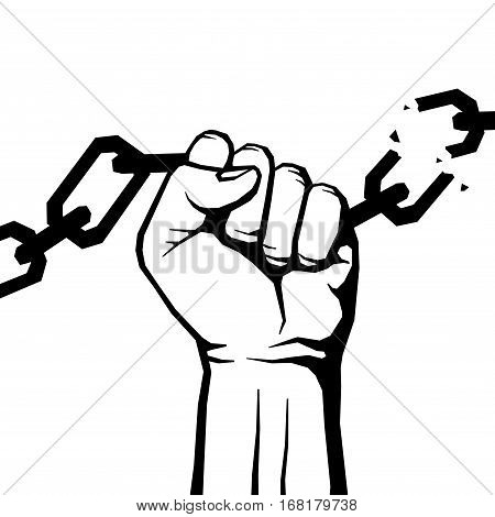 Breaking chain protest, rebel vector poster. Human hand breaking chain illustration
