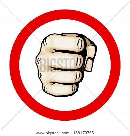 Punching hand with clenched fist vector illustration. Human fist in round