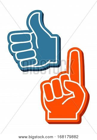 Colorful foam fingers vector set. Human thumb up sign illustration