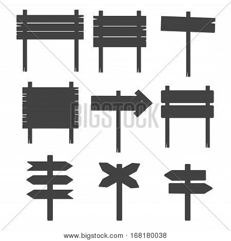 Wooden blank sign boards silhouettes isolated on white vector. Vintage grunge signpost illustration