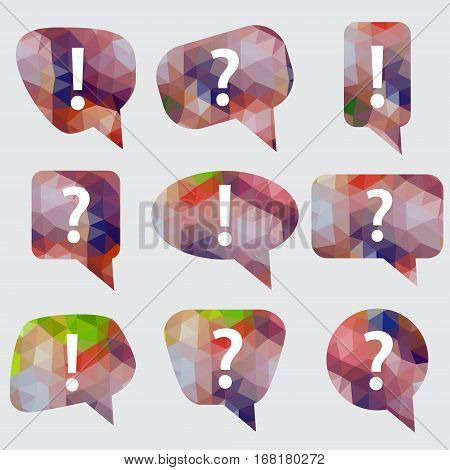 Simple Abstract Color Mesh Triangle Low Polygon Speak Bubbles With Symbols Icons Eps10