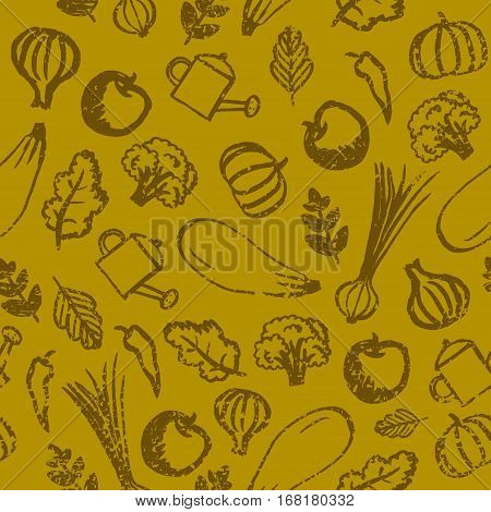 Vector garden, farm, vegetables and fruit seamless patter. Eco, organic healthy food background. Hand drawn