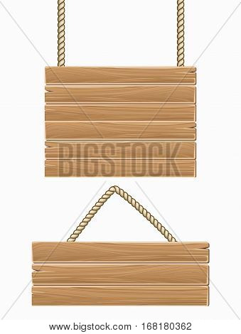 Hanging vector wooden blank sign boards isolated over white. Wood texture plank illustration