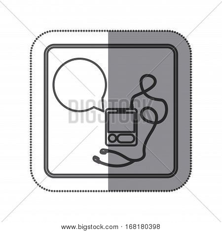 sticker silhouette square shape with tech portable music device with headphones and dialog box vector illustration