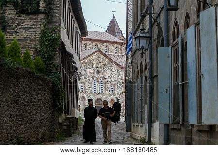 Monks And Believers In Karyes Mount Athos