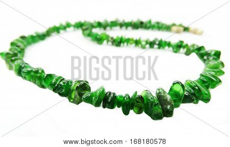chrome-diopside semigem beads isolated on white background
