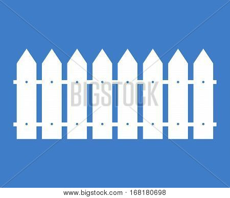 White rural wooden fence vector silhouette. Illustration design fence from wood timber