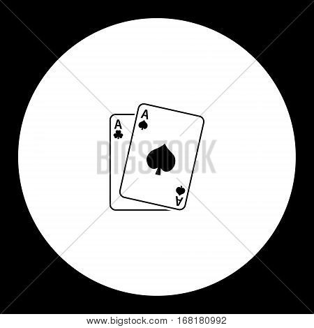 Playing Card Aces Black Simple Icon Eps10