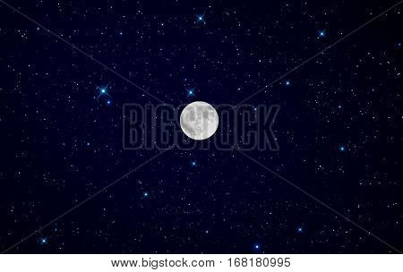 Super Moon over starry night graphic background