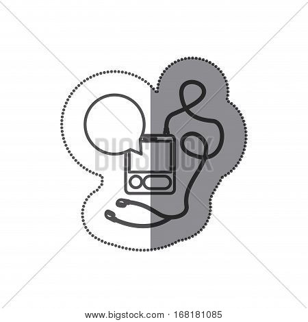 sticker silhouette with tech portable music device with headphones and dialog box vector illustration