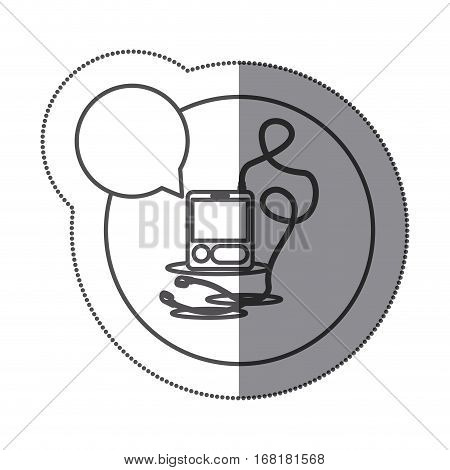 sticker circular silhouette with tech portable music device with headphones and dialog box vector illustration
