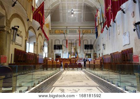 ROME ITALY - JANUARY 29 2017: Municipal policeman in the Aula Giulio Cesare Palazzo Senatorio is the seat of the Roman Council