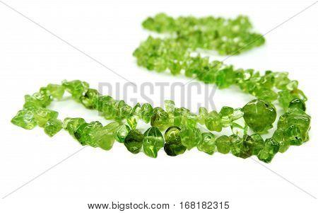 peridote semigem beads isolated on white background