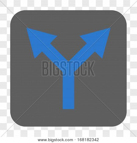 Bifurcation Arrow Up interface toolbar button. Vector icon style is a flat symbol inside a rounded square button blue and gray colors chess transparent background.