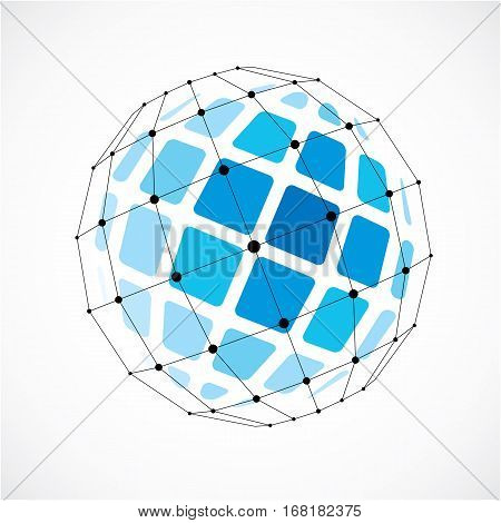 Abstract 3D Faceted Figure With Connected Black Lines And Dots. Vector Low Poly Blue Design Element