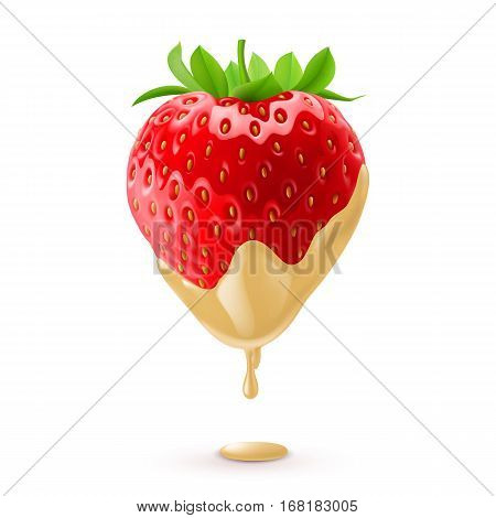 Big Fresh Strawberry Dipped in White Chocolate Fondue
