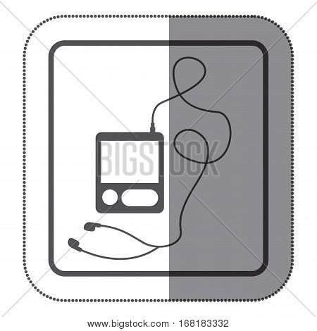 sticker monochrome square silhouette with tech portable music device with headphones vector illustration