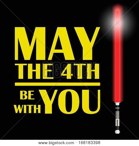 One Red Light Future Sword And Text May The Fourth Be With You Eps10