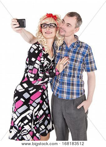 Funny Retro Couple Taking Photo Of Themselves Selfie Isolated