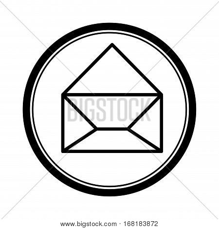 circular shape with silhouette paper envelope opened icon vector illustration
