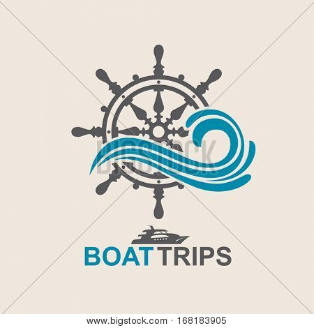 Yacht helm wheel image with sea waves. Vector illustration