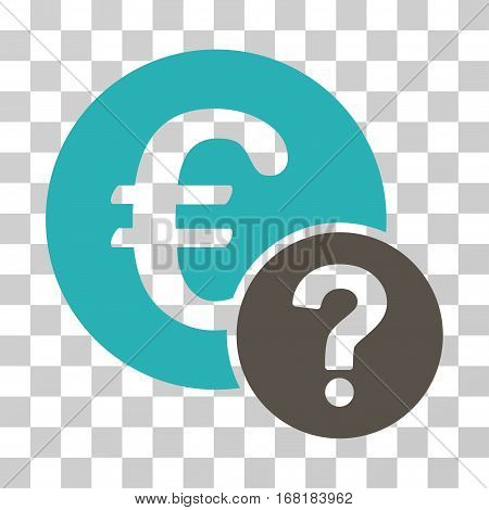 Euro Status icon. Vector illustration style is flat iconic bicolor symbol grey and cyan colors transparent background. Designed for web and software interfaces.