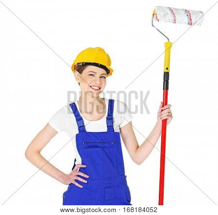 Beautiful young decorator on white background