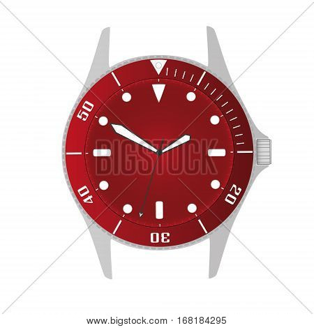 Simple Modern Sport Divers Style Red Watch Case And Dial Object Eps10