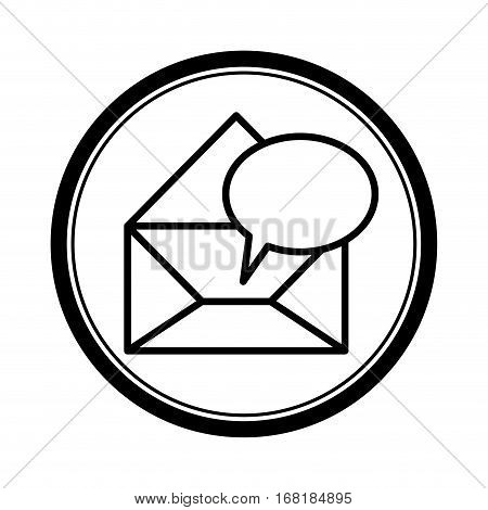 circular shape with blank paper envelopes opened with dialog box vector illustration