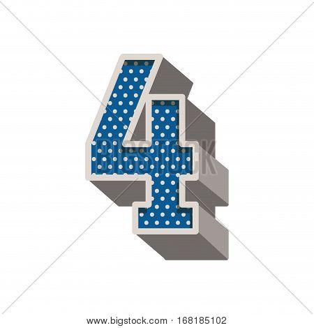 three-dimensional number four dotted in blue color vector illustration