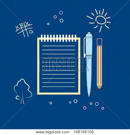 Notebook with the Pen and a Pencil