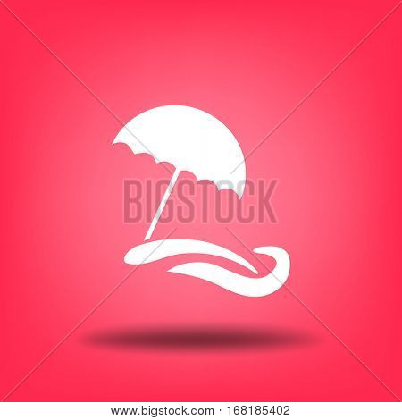Flat icon. Beach umbrella. Sand and wave. Relax on the beach.
