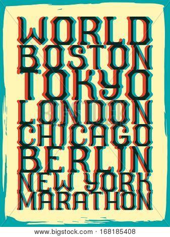 World marathon series retro poster. Marathon running. Vintage custom typeface.