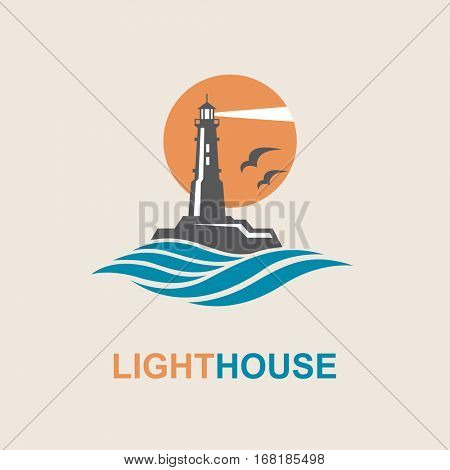 lighthouse icon design with ocean waves and seagulls. Vector illustration