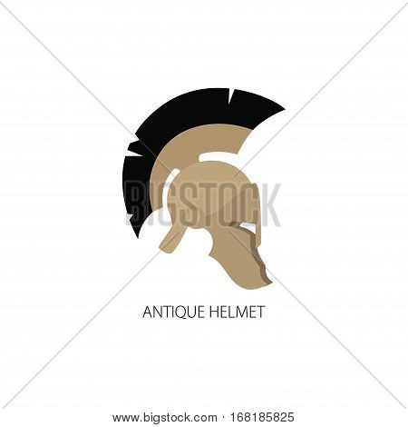 Antiques Roman or Greek Helmet Isolated on White, Helmet with a Black Crest of Feathers or Horsehair with Slits for the Eyes and Mouth
