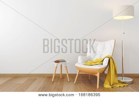 White leather wood armchair, dresser, console, floor lamp in empty black room. 3D render illustration
