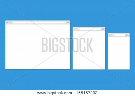 Open Internet browser window in a flat style. Design a simple blank web page. Template Browser window on your PC tablet and mobile phone.