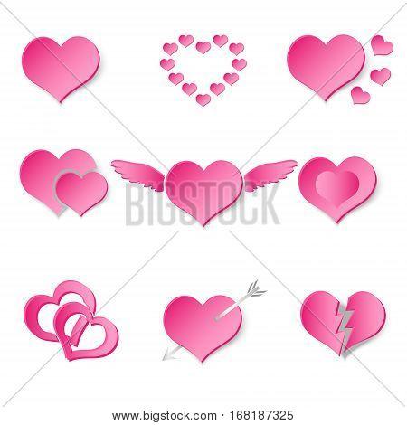 Set Of Pink Paper Style Valentine Hearth Love Symbols Eps10
