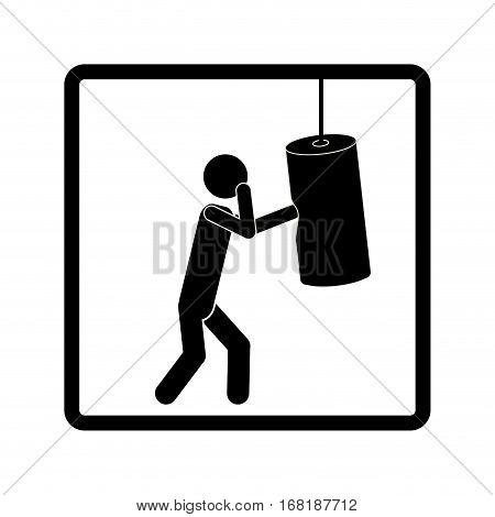 square shape pictogram man knocking bag weight vector illustration