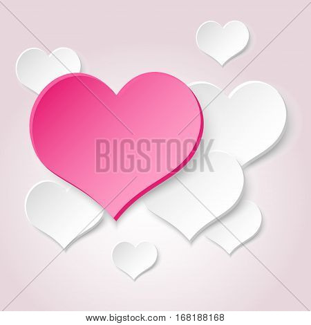 White Valentine Hearths From Paper And One Big Pink Heart Eps10