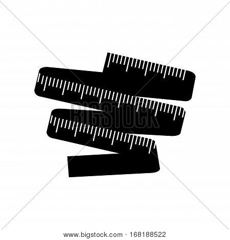 black silhouette with measuring tape vector illustration