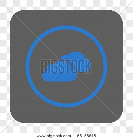 Clouds interface toolbar button. Vector icon style is a flat symbol inside a rounded square button blue and gray colors chess transparent background.