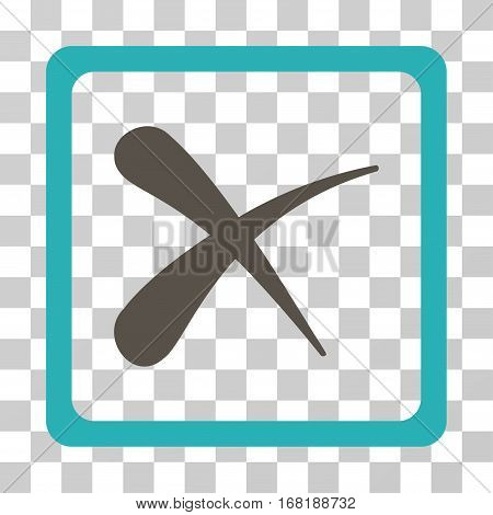Reject icon. Vector illustration style is flat iconic bicolor symbol grey and cyan colors transparent background. Designed for web and software interfaces.